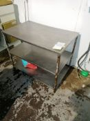 Stainless Steel Preperation Table With Steel Frame Length 107cm Width 66cm Height 88cm Contents