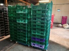Large Amount of Plastic Bread Trays Mainly Green In Colour