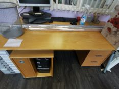 Beechwood effect office desk with 2 x cabimets under.Does not include any other items