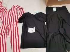 19pc Red and white jump suits (8) and black tshirts-trousers (11)