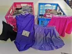 47pc x Cotton black hot pants , Purple leotard , Pink and purple skirts - Various sizes
