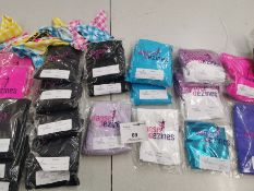 52pc Catsuits,dresses,overlays ,vests,leotards,gloves,bow ties,headbands. Various designs and sizes