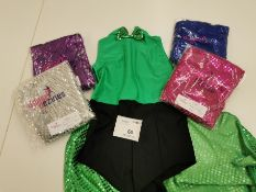 5pc Cheeky hot pant catsuits with bow ties/ half skirts