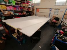 Large fabric cutting table Lenth 366cm x Width 214cm x Height 90cm with fabric roll stand ,fabric