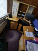 Beech wood effect office desk and 3 x cabinet draws under. Does not include any other items