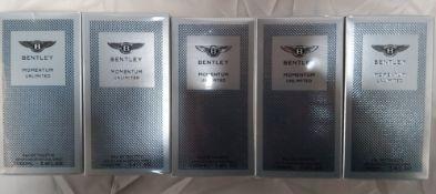 5 x Bentley Mens Momentum Unlimited 100ml EDT. Condition New & Sealed. (RRP £300). Eau De Toilette.