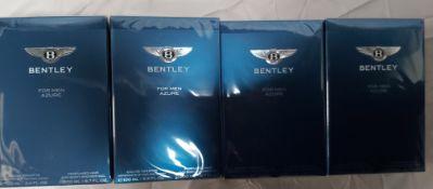 4 x Bentley Azure For Men Gift Set. 100ml EDT & 200ml Body Shower Gel. Condition New & Sealed. (