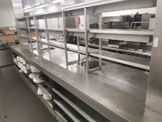 Stainless steel hot pass with 2 holding shelves &