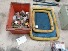 2 x Spill control site mats and miscellaneous box of tools and bric a brac
