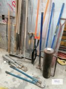 Large selection of hand tools and implements including , Post Knocker , Post hole digger , Small