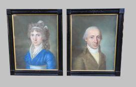 Portraits zweier AristokratenGouache-Pastell/Papier. Porträts des Ehepaares Maria Jul