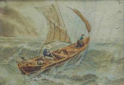 Segelboot auf hoher SeeHandkoloriertes Foto/Papier. Ri., altersbedingter Zustand, Deut