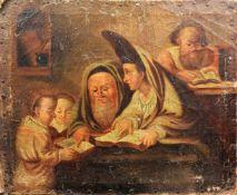 In der StudierstubeÖl/Leinwand. Eine Szene, die einige Kinder sowie zwei alte Herren