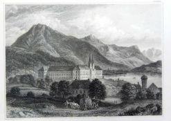Heuernte vor dem Tegernseer UrklosterStahlstich/Papier. Ansicht der Klosteranlage vor