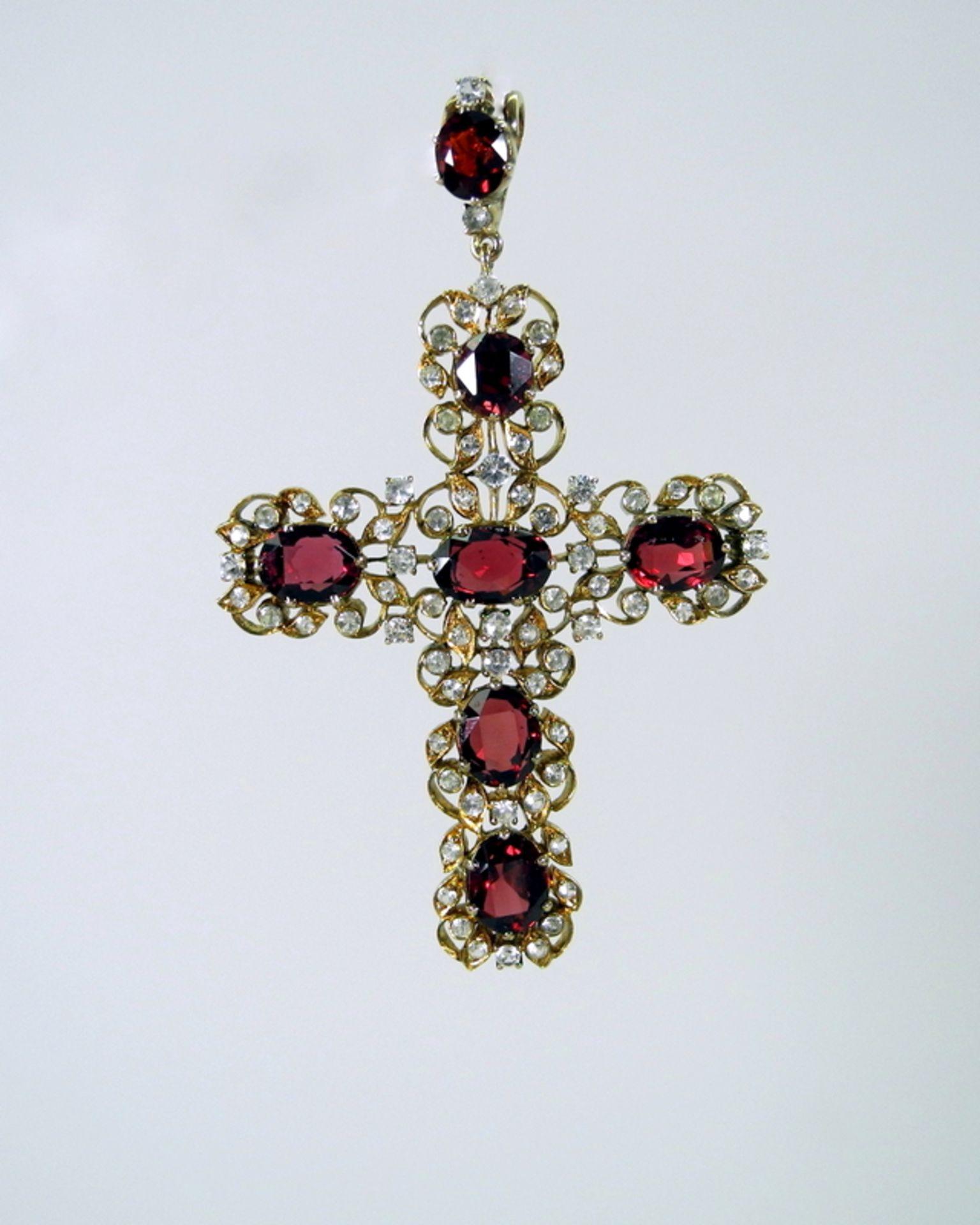 Kreuz mit Bruststern-Anhänger in barocker Form14 K. Gelbgoldenes Kreuz als Anhänger