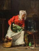 """Joseph Bail, 1862 Limonest – 1921 ParisÖl/Leinwand, doubliert, """"La Ménagère""""."""