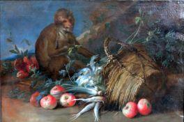 Küchenstillleben mit AffeÖl/Leinwand. Dieses altmeisterliche Gemälde zeigt einen um