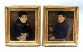 Gegenstücke traditionell gekleideter EheleuteÖl/Leinwand. Zwei Halbporträts traditi