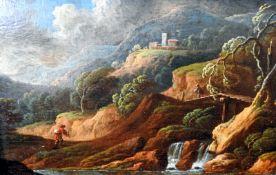 Landschaft mit WandererÖl/Holz. Gebirgslandschaft mit kleinem Wasserfall, Wanderern u