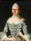 Portrait einer feinen DameÖl/Leinwand. Portrait der Caroline Neumann in einem blumenv