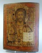 Russische Ikone des PantokratorTempera/Kreidegrund/Holz. Darstellung Christi, die rech
