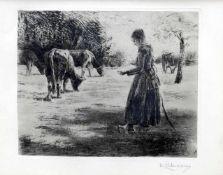 Max Liebermann, 1847 Berlin - 1935 BerlinLithographie/Papier. Kuhhirtin. Ein Mädchen