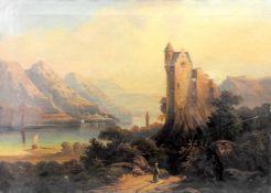 Ideale LandschaftÖl/Leinwand. Eine Burg thront auf einem Felsen an einem Flusslauf. D