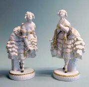 Metzler & Ortloff, TänzerinnenpaarPorzellan, am Boden jeweils mit aufglasurgrüner Ma