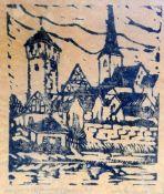 Ansicht einer BurgHolzschnitt/Papier. Ansicht einer Burg. Am unteren Rand mit Bleistif