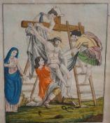 Christi Abnahme vom KreuzHandkolorierter Stich/Papier. Mittig beschriftet und im Druck