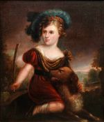 Portrait eines Mädchens mit HundÖl/Leinwand, doubl. Ein junges Mädchen mit einem Hu