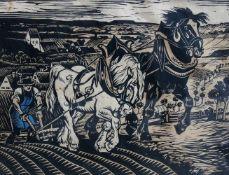 Richard Huber, 1902 Dachau - 1982 ebendaHolzschnitt/Papier. Bauer mit dem Rigolpflug a
