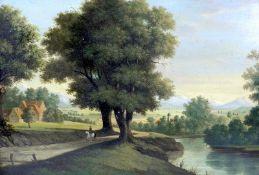 Idyllisches Landschaftsgemälde mit nahendem ReiterÖl/Holz. Weite Ansicht des Landes