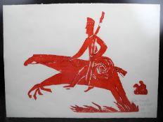 """Werner Bunz, 1926 - 2009 HamburgHolzschnitt/Papier. """"Don Quijote"""" - Darstellung eines"""