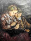 Oszkár Glatz, 1872 Budapest - 1958 ebendaPastell/Papier. Ein Junge und ein Mädchen b