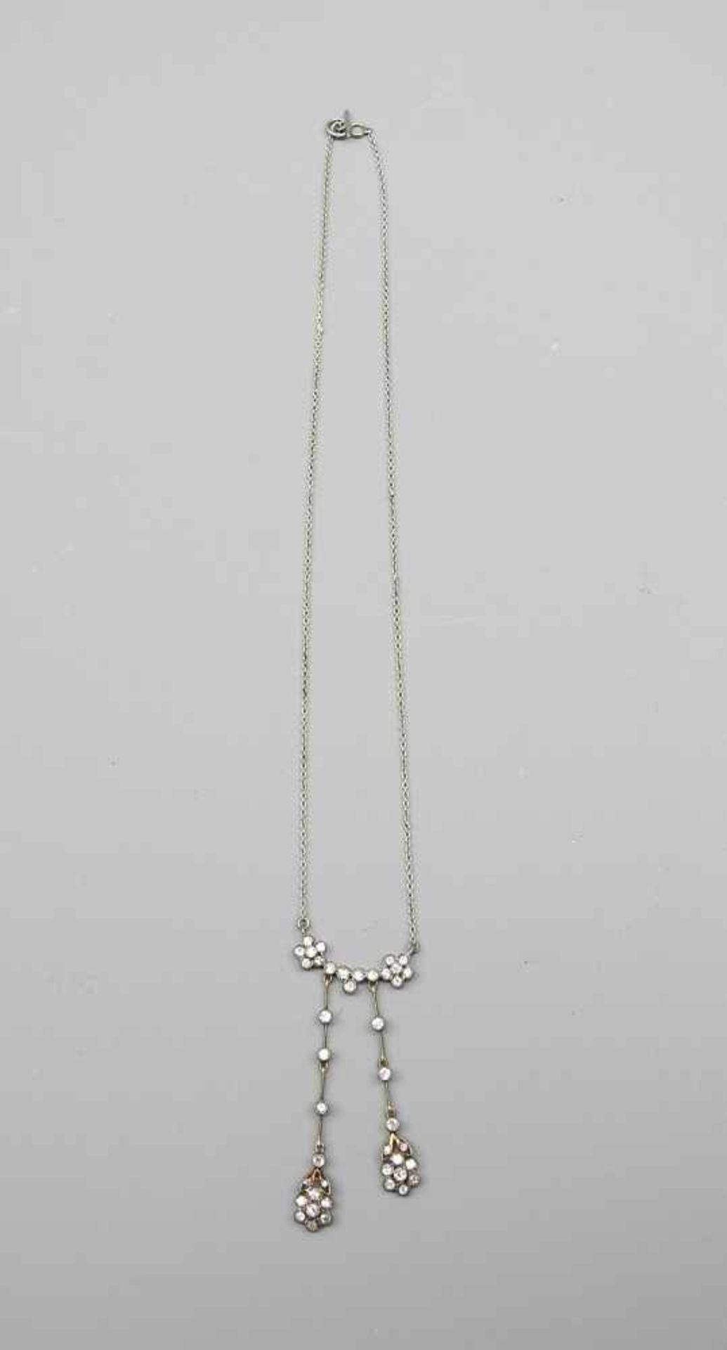 Feines Jugendstil-CollierSilber mit Diamantbesatz von ca. 0,80 ct. Wohl Deutschland, u - Image 2 of 4