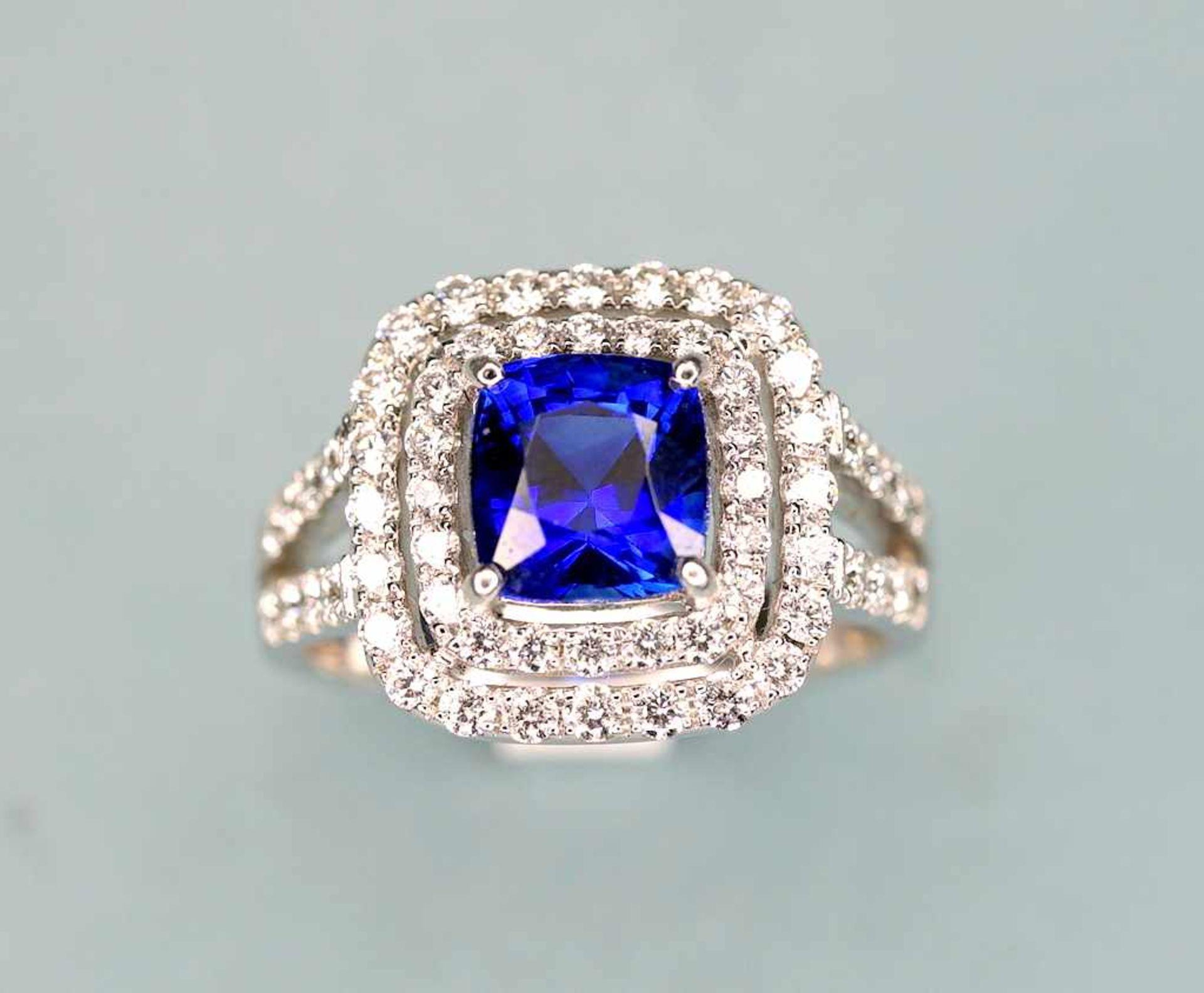 Hochwertiger SaphirringPlatin. Quadratischer Ringkopf, aus 2-reihigen Diamanten von zu - Image 6 of 7