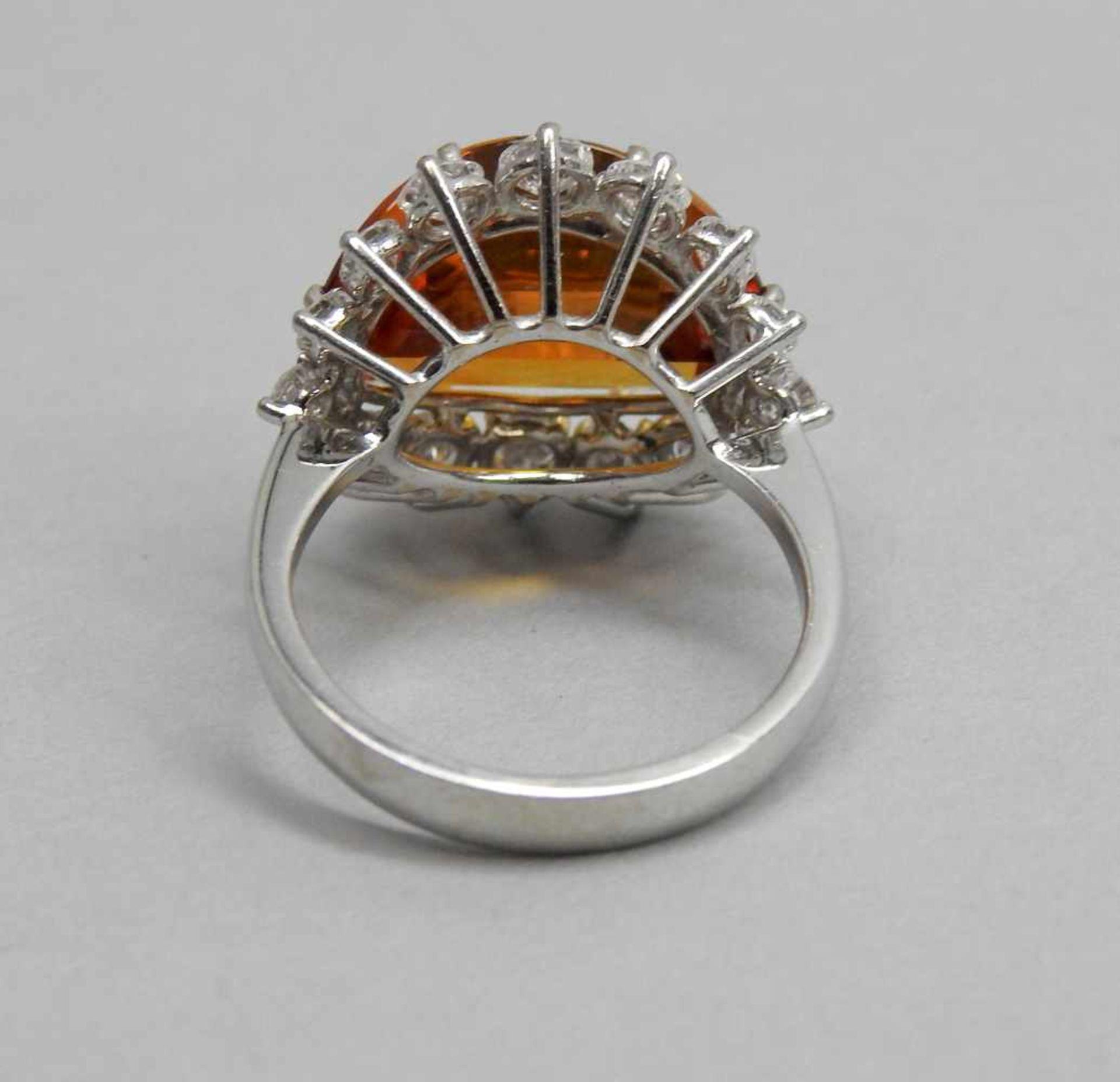Großer Citrin-Diamant-Ring18 K. Weißgold mit großem Citrin, ca. 5 ct und Diamanten, - Image 3 of 3