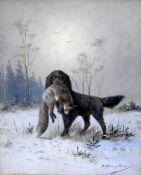 Moritz Müller, 1841 München - 1899 ebendaÖl/Holz. Jagdhund mit erbeutetem Fuchs in