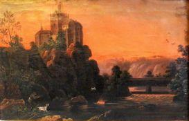 Landschaftsdarstellung einer BurgÖl/Leinwand. Das Gemälde zeigt einen Jägersmann de