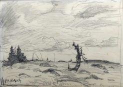 Alfred Nickisch, 1872 Bischdorf - 1948 BambergBleistift/Papier. Herbstliche Landschaft