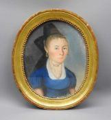 Damenporträt im OvalPastellkreide/Papier. Porträt einer Dame im blauen Kleid und sch