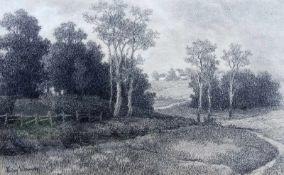 Ludwig Willroider, 1845 Villach - 1910 BernriedKohlezeichnung. Landschaft in Schöntha