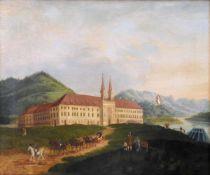 Hochzeitsgesellschaft vor dem Schloss TegernseeÖl/Leinwand. Ein Hochzeitspaar in eine
