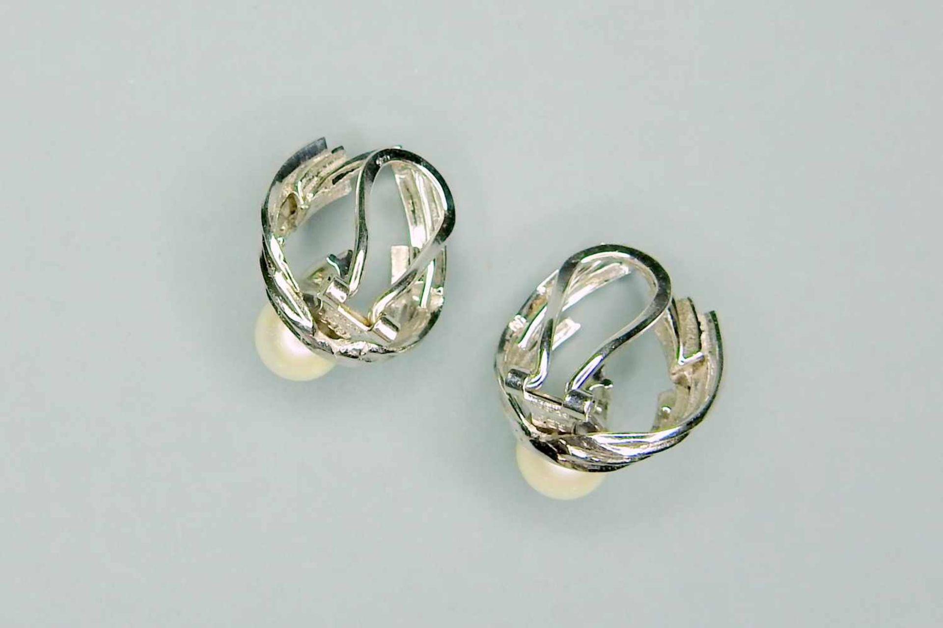 Ohrclips mit Perl- und Diamantbesatz14 K Gold. Fein gearbeitete Ohrclips in Weißgold - Image 2 of 3