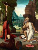 Heiliger HieronymusÖl/Holz. Mit einem Stein schlägt sich der Heilige auf die Brust,