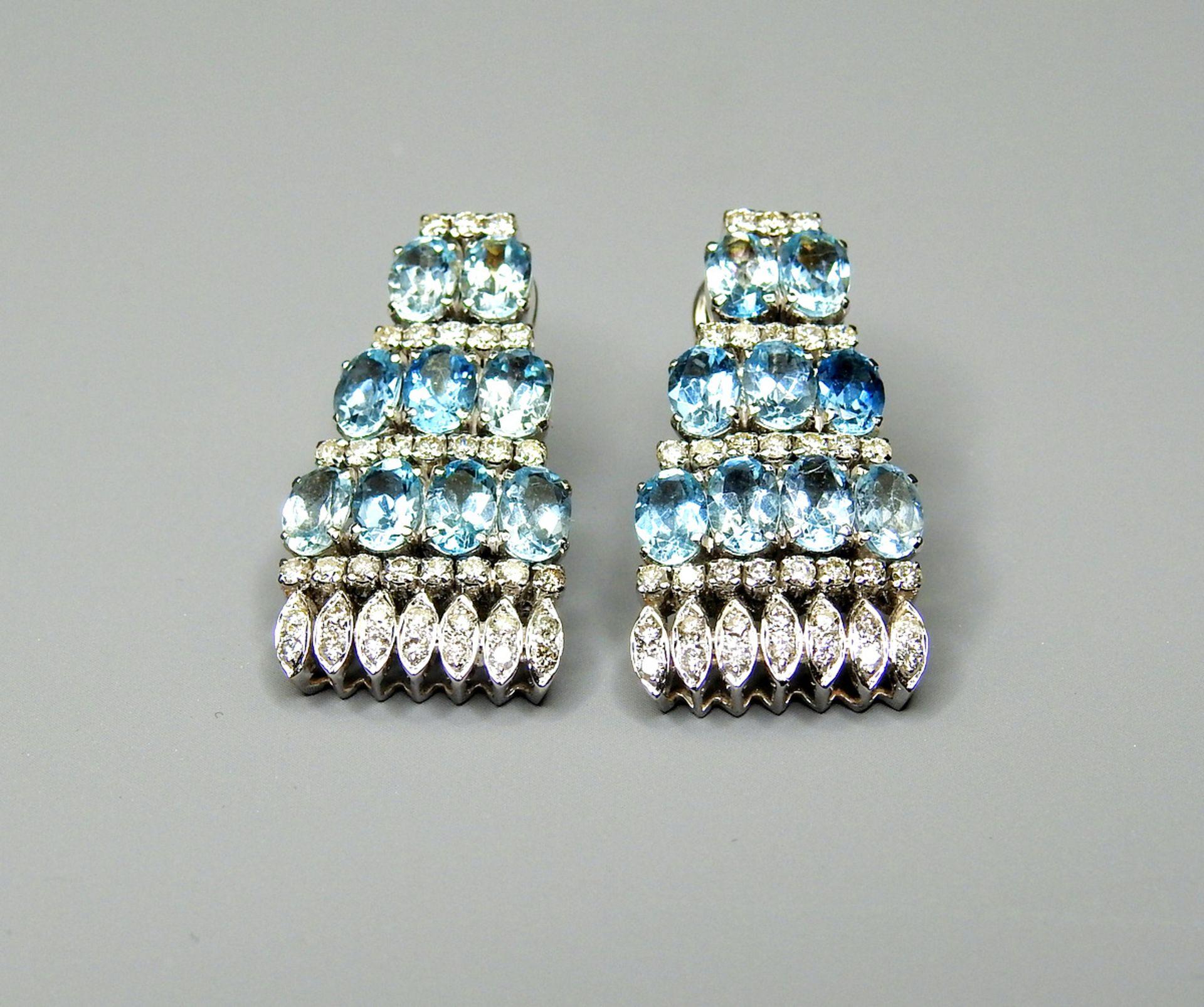 Paar Weißgold-Ohrringe mit Aquamarin- und Brillantbesatz14 K. Weißgold, besetzt mit