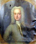 Barockes AdelsportätÖl/Leinwand. Brustbild eines Herrn mit barocker Perücke. Unsign