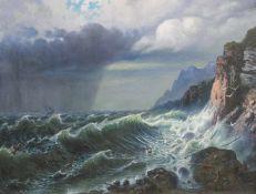 Die Sturmflut vor felsiger KüsteÖl/Leinwand. In dem Werk sind Schiffsbrüchige am Fe