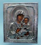 Gottesmutter von SmolenskEitempera/Holz. Silberoklad mit Feingehalt 84 zolotniki, Heil